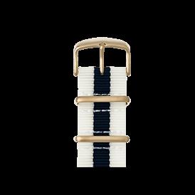 Nato Nylon Armband in Cremeweiß / Dunkelblau für die Apple Watch Series 1, 2 & 3 in 38mm & 42mm Gehäusegröße von Roobaya - Made in Germany