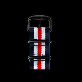 Bracelet Apple Watch nylon Nato bleu foncé/blanc/rouge | Roobaya