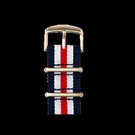 Nato Nylon Armband in Dunkelblau / Weiß / Rot für die Apple Watch Series 1, 2 & 3 in 38mm & 42mm Gehäusegröße von Roobaya - Made in Germany