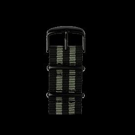Bracelet Apple Watch nylon Nato noir/gris mousse | Roobaya