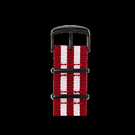 Bracelet Apple Watch nylon Nato rouge cerise/blanc | Roobaya