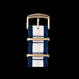 Nato Nylon Armband in Mittelblau / Weiß / Hellrosa für die Apple Watch Series 1, 2 & 3 in 38mm & 42mm Gehäusegröße von Roobaya - Made in Germany