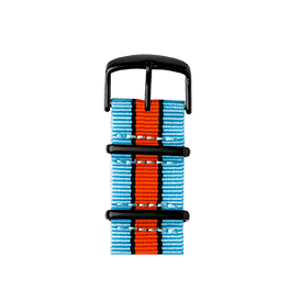 Apple Watch band NATO nylon light blue/black/orange | Roobaya