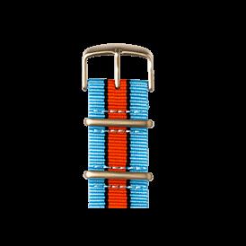 Nato Nylon Armband in Hellblau / Schwarz / Orange für die Apple Watch Series 1, 2 & 3 in 38mm & 42mm Gehäusegröße von Roobaya - Made in Germany