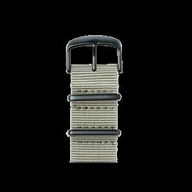 Nato Nylon Armband in Hellgrau für die Apple Watch Series 1, 2 & 3 in 38mm & 42mm Gehäusegröße von Roobaya - Made in Germany