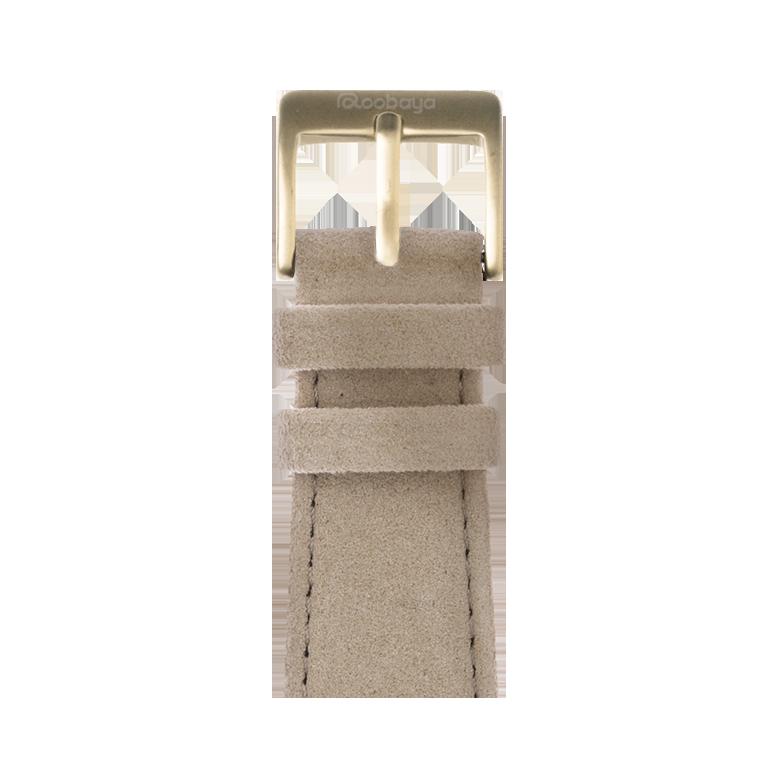 Alcantara Armband in Sand für die Apple Watch Series 1, 2, 3 & 4 in 38mm, 40mm, 42mm & 44mm Gehäusegröße von Roobaya - Made in Germany