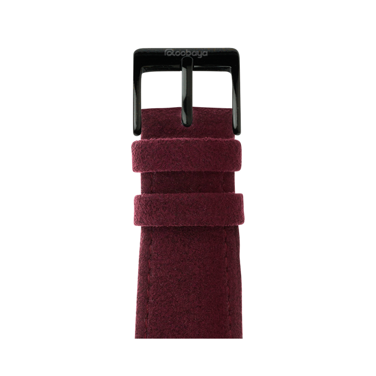 Alcantara Armband in Weinrot für die Apple Watch Series 1, 2, 3 & 4 in 38mm, 40mm, 42mm & 44mm Gehäusegröße von Roobaya - Made in Germany