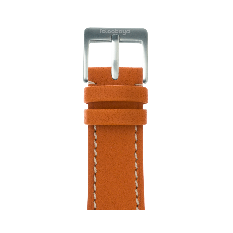French Calf Leder Armband in Orange für die Apple Watch Series 1, 2, 3 & 4 in 38mm, 40mm, 42mm & 44mm Gehäusegröße von Roobaya - Made in Germany