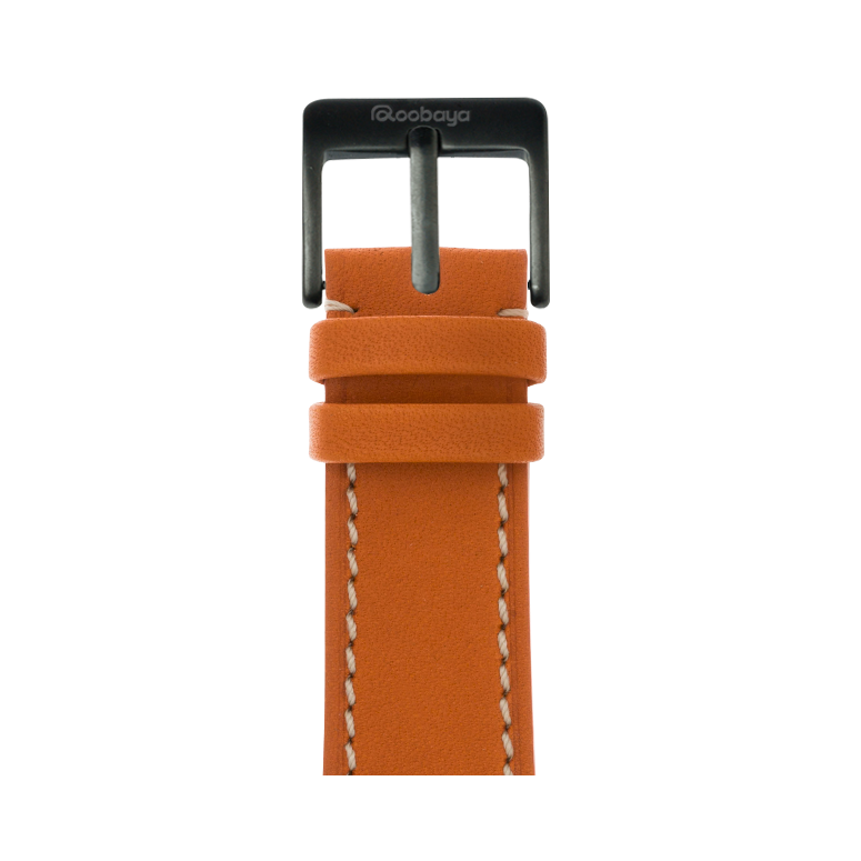 Roobaya | Premium French Calf Leder Armband Orange für Apple Watch Series 1, 2 & 3 | 38 & 42 mm