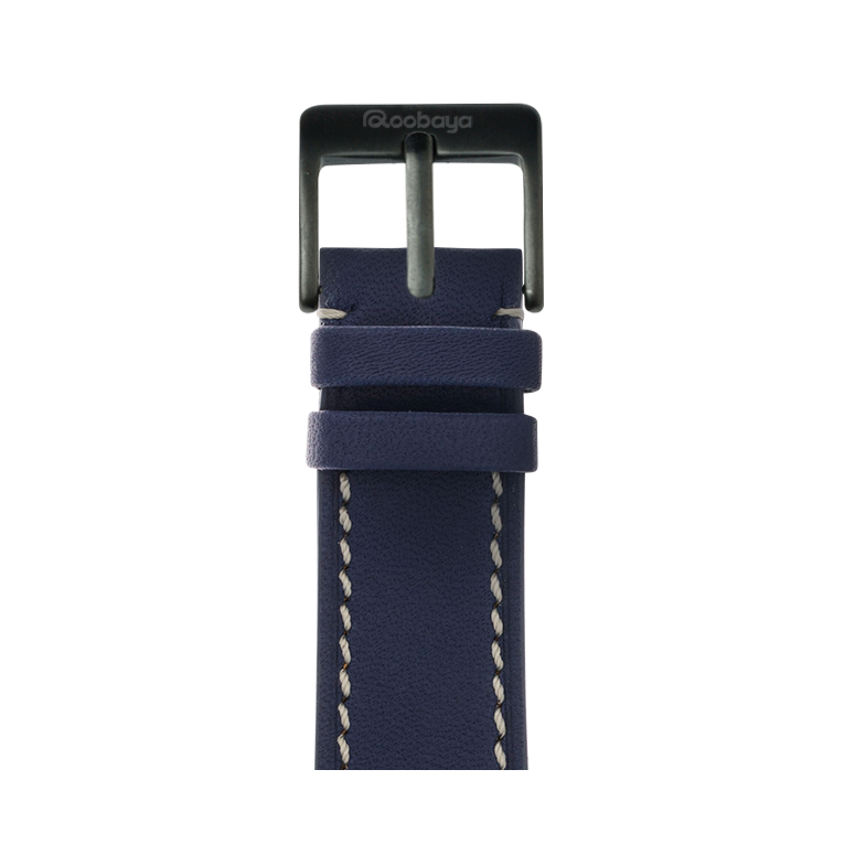 Correa para Apple Watch de piel french calf en azul oscuro | Roobaya