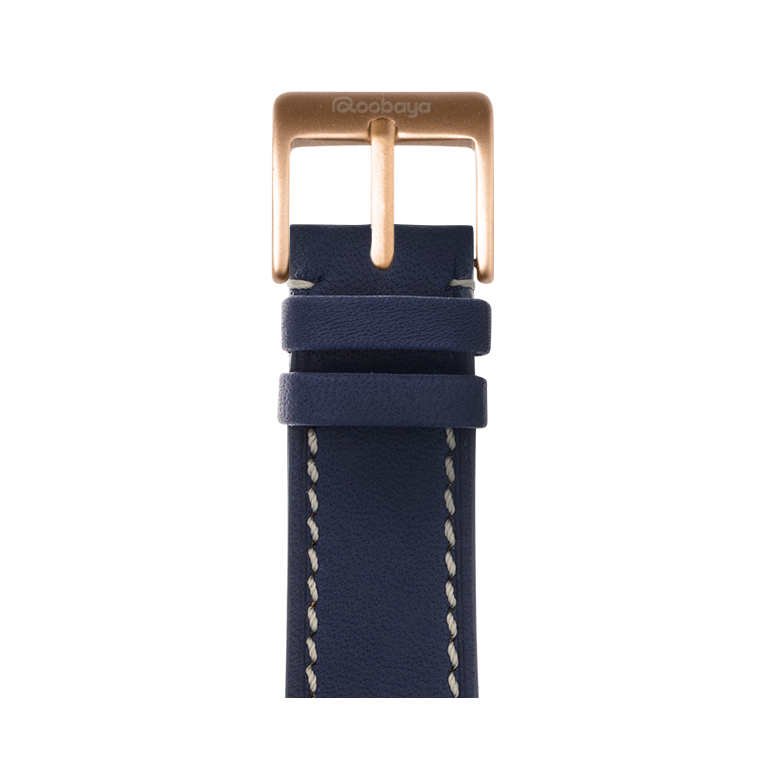 French Calf Leder Armband in Dunkelblau für die Apple Watch Series 1, 2, 3 & 4 in 38mm, 40mm, 42mm & 44mm Gehäusegröße von Roobaya - Made in Germany