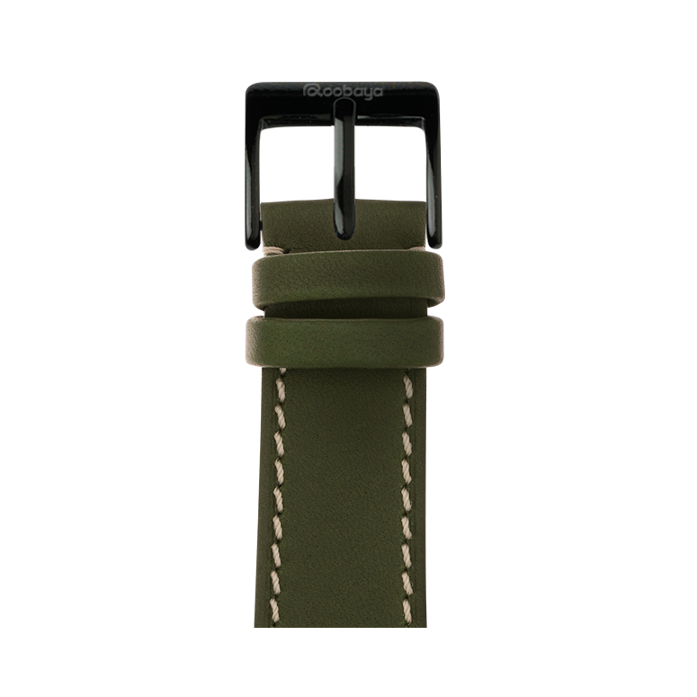 French Calf Leder Armband in Grün für die Apple Watch Series 1, 2, 3 & 4 in 38mm, 40mm, 42mm & 44mm Gehäusegröße von Roobaya - Made in Germany