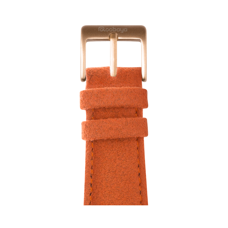 Alcantara Armband in Orange für die Apple Watch Series 1, 2, 3 & 4 in 38mm, 40mm, 42mm & 44mm Gehäusegröße von Roobaya - Made in Germany