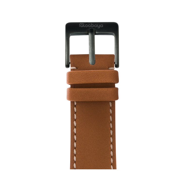 Roobaya | Premium French Calf Leder Armband Cognac für Apple Watch Series 1, 2 & 3 | 38 & 42 mm