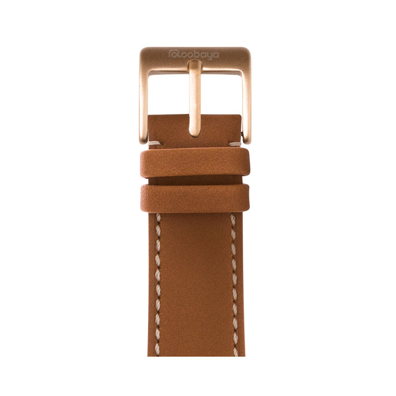 French Calf Leder Armband in Cognac für die Apple Watch Series 1, 2, 3 & 4 in 38mm, 40mm, 42mm & 44mm Gehäusegröße von Roobaya - Made in Germany