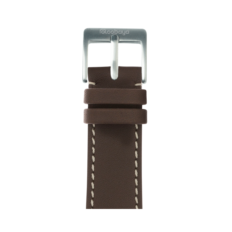 French Calf Leder Armband in Chocolat für die Apple Watch Series 1, 2, 3 & 4 in 38mm, 40mm, 42mm & 44mm Gehäusegröße von Roobaya - Made in Germany