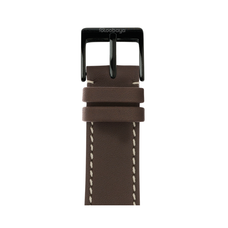 Apple Watch band french calf leather chocolate | Roobaya