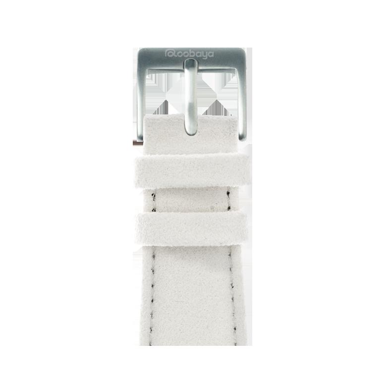 Alcantara Armband in Weiß für die Apple Watch Series 1, 2, 3 & 4 in 38mm, 40mm, 42mm & 44mm Gehäusegröße von Roobaya - Made in Germany
