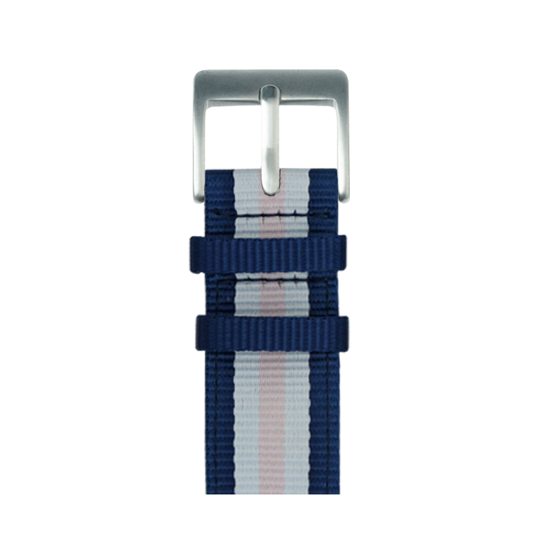 Nylon Armband in Mittelblau/Weiß/Hellrosa für die Apple Watch Series 1, 2, 3 & 4 in 38mm, 40mm, 42mm & 44mm Gehäusegröße von Roobaya - Made in Germany