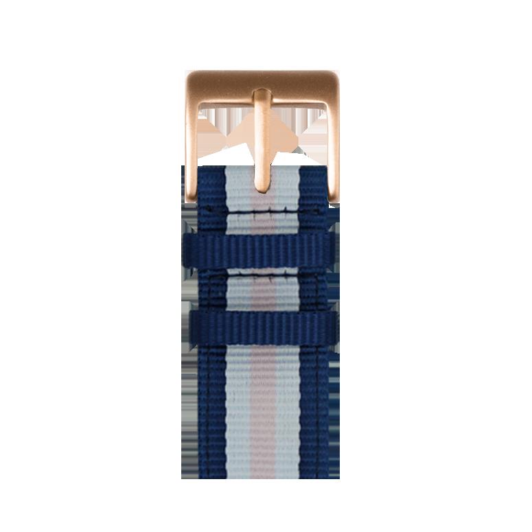 Cinturino Nato Apple Watch in nylon blu scuro/bianco | Roobaya