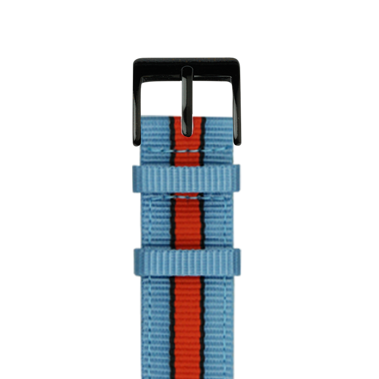 Nylon Armband in Hellblau/Schwarz/Orange für die Apple Watch Series 1, 2, 3 & 4 in 38mm, 40mm, 42mm & 44mm Gehäusegröße von Roobaya - Made in Germany