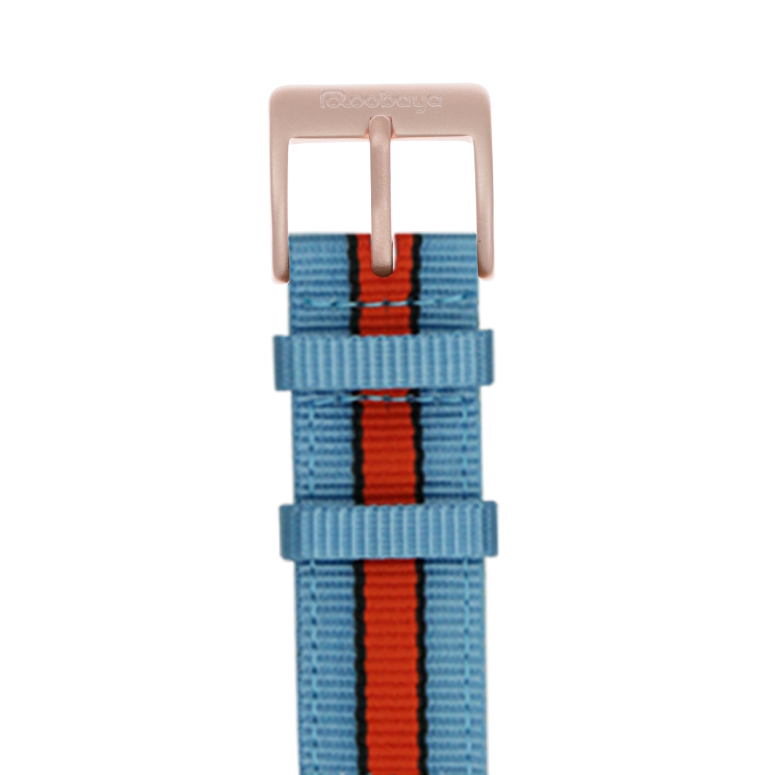 Nylon Armband in Hellblau/Schwarz/Orange für die Apple Watch Series 1, 2, 3 & 4 in 38mm, 40mm, 42mm & 44mm Gehäusegröße von Roobaya - Made in Germany