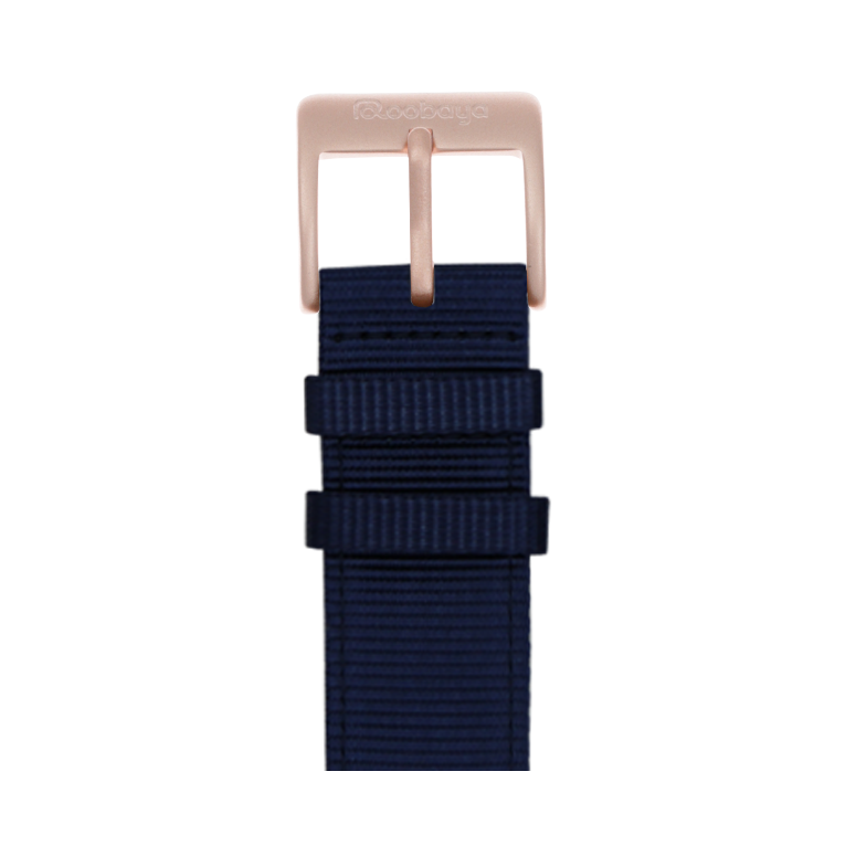 Nylon Armband in Dunkelblau für die Apple Watch Series 1, 2, 3 & 4 in 38mm, 40mm, 42mm & 44mm Gehäusegröße von Roobaya - Made in Germany