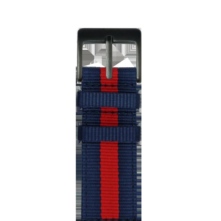 Nylon Armband in Dunkelblau / Rot für die Apple Watch Series 1, 2, 3 & 4 in 38mm, 40mm, 42mm & 44mm Gehäusegröße von Roobaya - Made in Germany