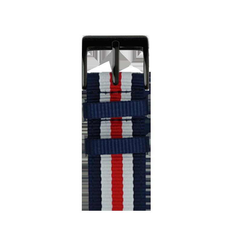 Nylon Armband in Dunkelblau/Weiß/Rot für die Apple Watch Series 1, 2, 3 & 4 in 38mm, 40mm, 42mm & 44mm Gehäusegröße von Roobaya - Made in Germany