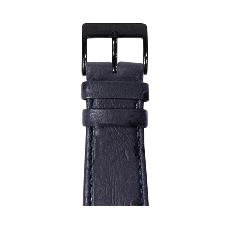 Straußennarbung Armband in Jeansblau für die Apple Watch Series 1, 2, 3 & 4 in 38mm, 40mm, 42mm & 44mm Gehäusegröße von Roobaya - Made in Germany