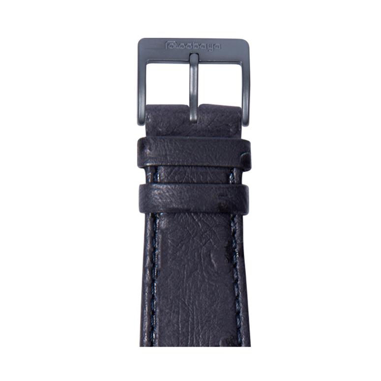 Cinturino Apple Watch in pelle granitura struzzo blu | Roobaya