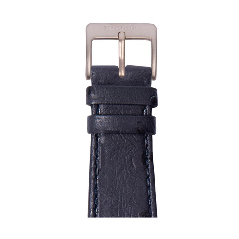 Bracelet Apple Watch cuir grenu de l'autruche bleu moyen | Roobaya