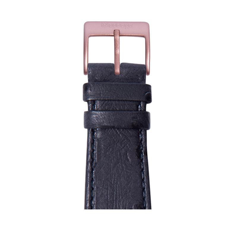 Correa para Apple Watch de piel graneado avestruz en azul | Roobaya