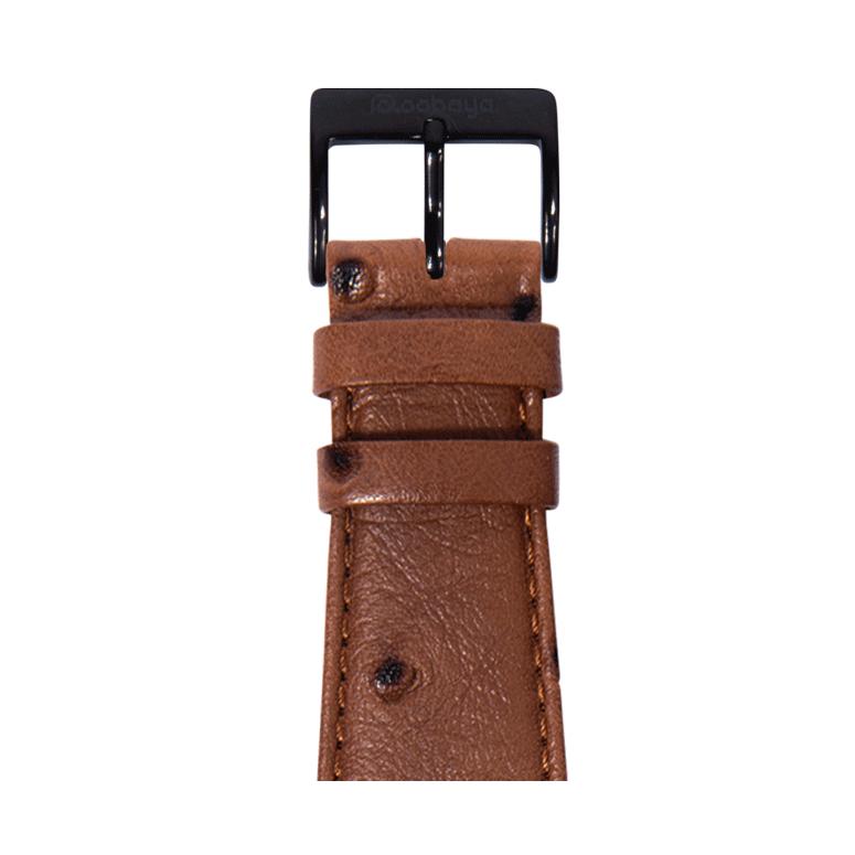 Straußennarbung Armband in dunkelbraun für die Apple Watch Series 1, 2, 3 & 4 in 38mm, 40mm, 42mm & 44mm Gehäusegröße von Roobaya - Made in Germany