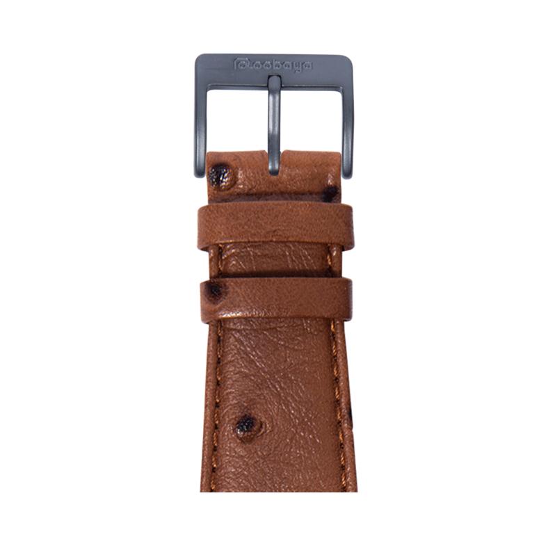 Cinturino Apple Watch in pelle granitura struzzo marrone scuro | Roobaya