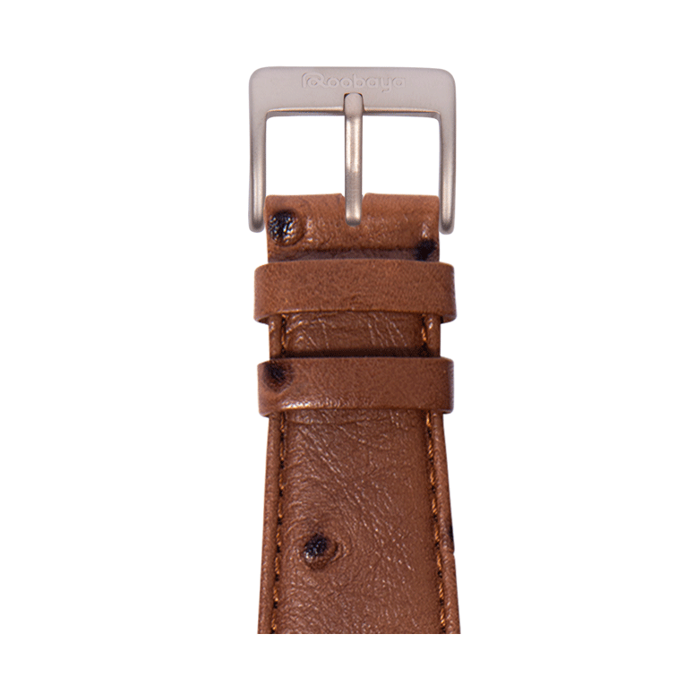 Bracelet Apple Watch cuir grenu de l'autruche marron fonce | Roobaya