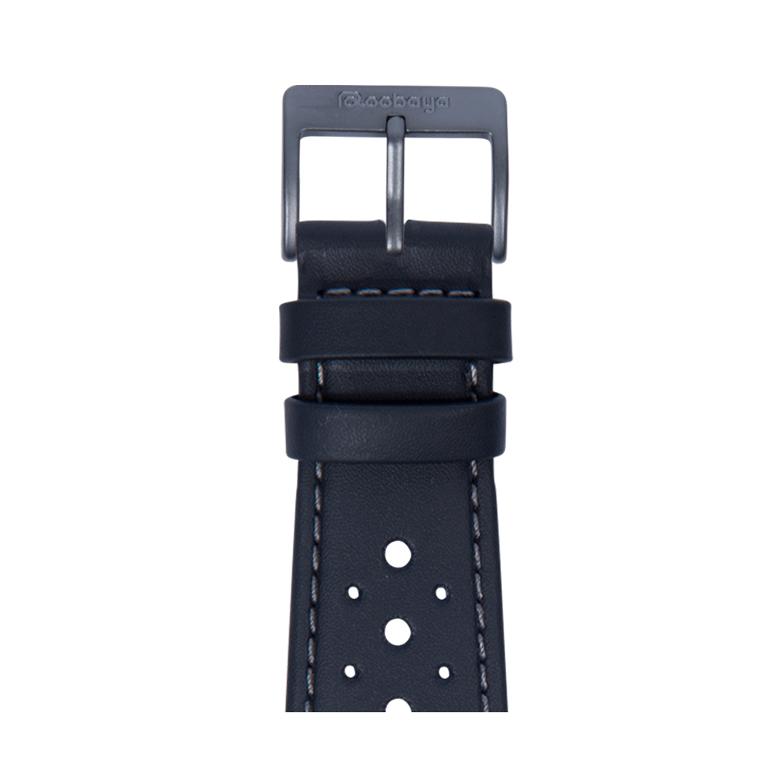 Cinturino Apple Watch in racing pelle impermeabile blu scuro | Roobaya