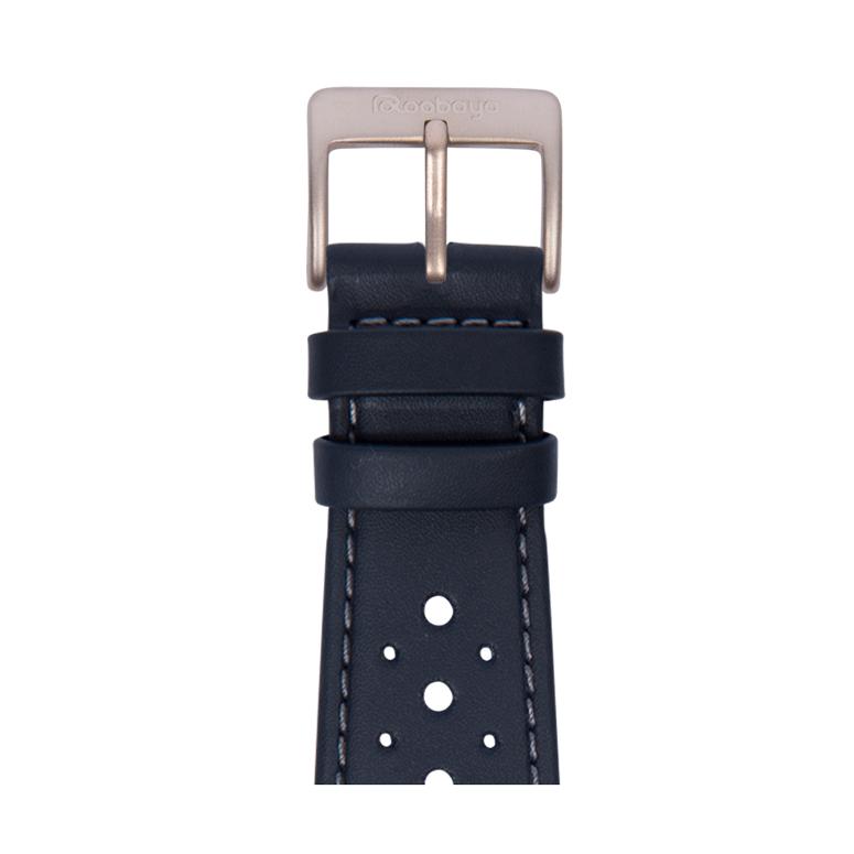 Bracelet Apple Watch racing cuir imperméable bleu foncé | Roobaya