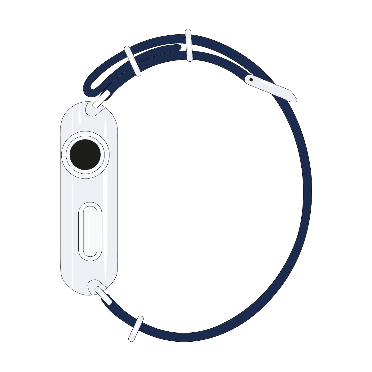 Correa para Apple Watch de nailon NATO en azul marino/blanco | Roobaya – Bild 4