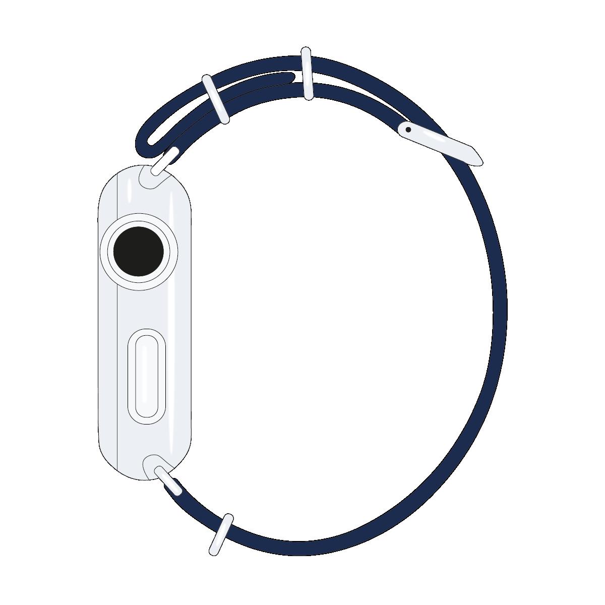 Correa para Apple Watch de nailon NATO en azul marino/blanco/rojo | Roobaya – Bild 4