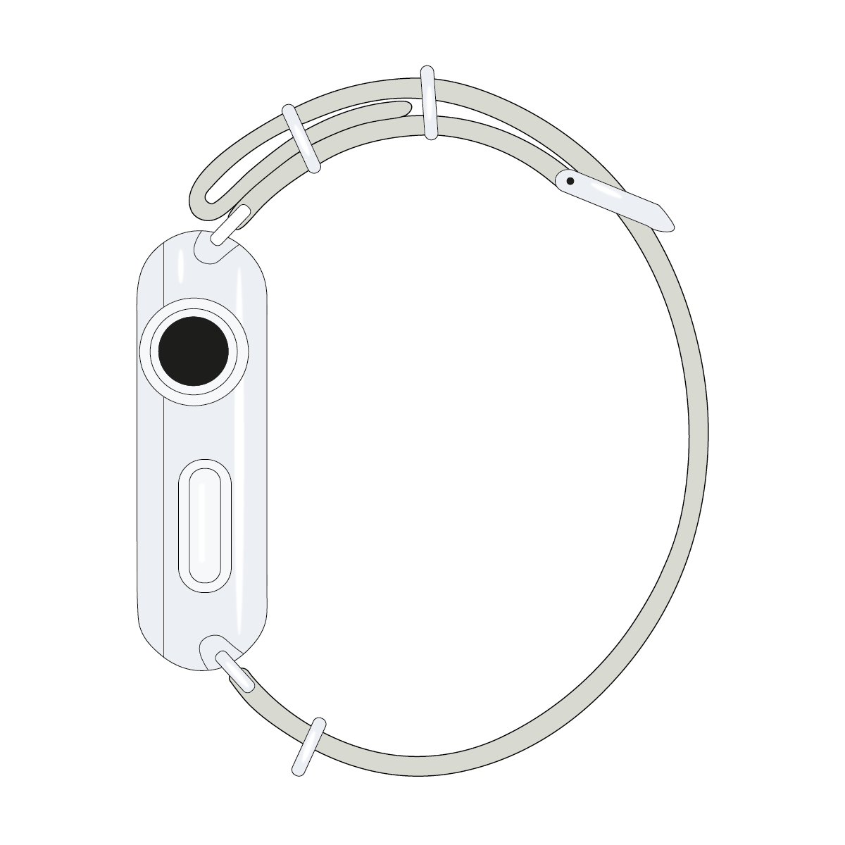 Bracelet Apple Watch nylon Nato gris clair/blanc | Roobaya – Bild 4