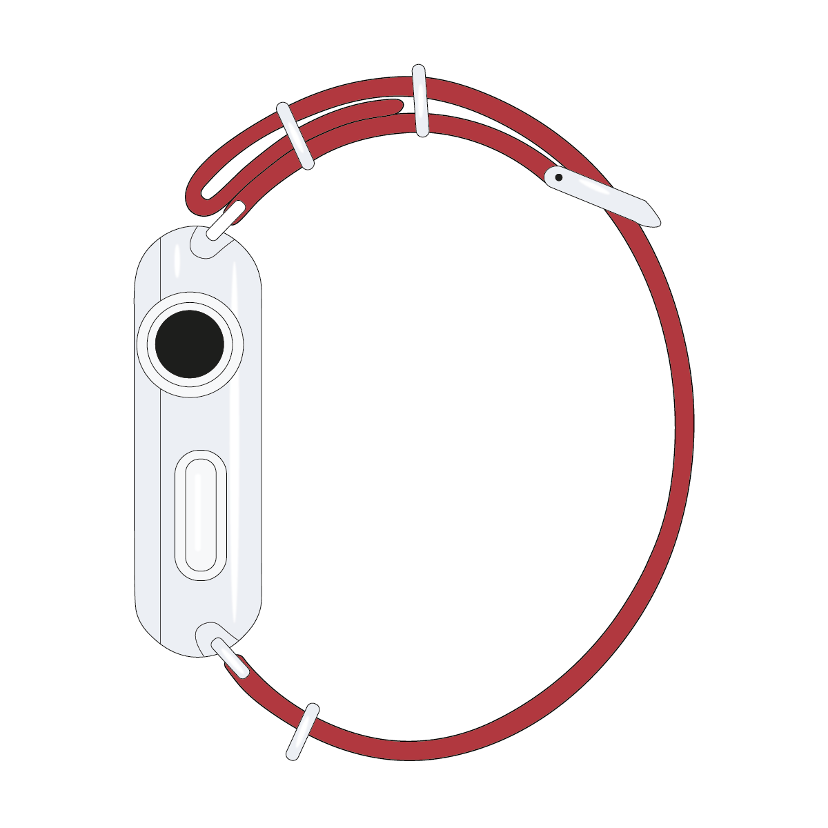 Correa para Apple Watch de nailon NATO en rojo cereza/blanco | Roobaya – Bild 4