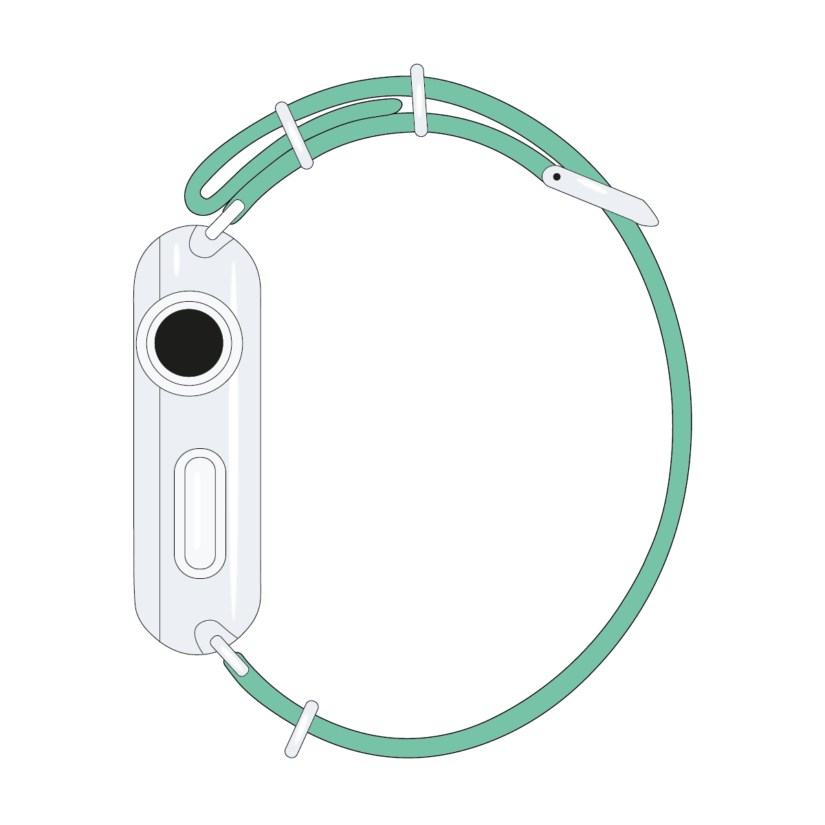 Correa para Apple Watch de nailon NATO en verde claro/blanco | Roobaya – Bild 4