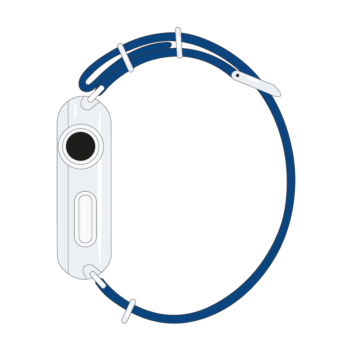 Correa para Apple Watch de nailon NATO en azul/blanco/rosa claro | Roobaya – Bild 4