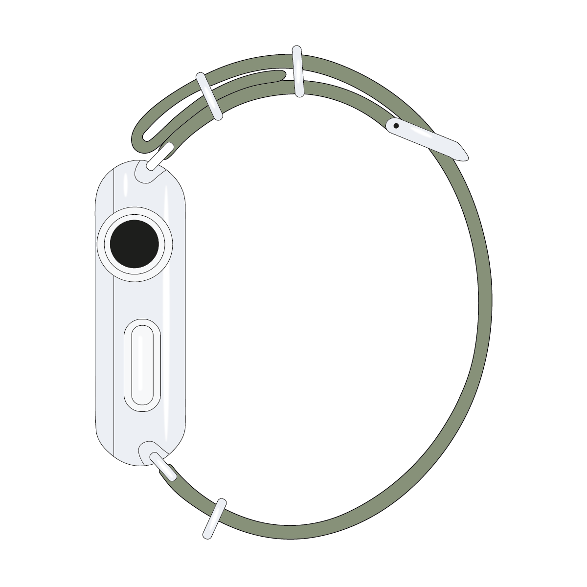 Cinturino Nato Apple Watch in nylon color grigio muschio | Roobaya – Bild 4