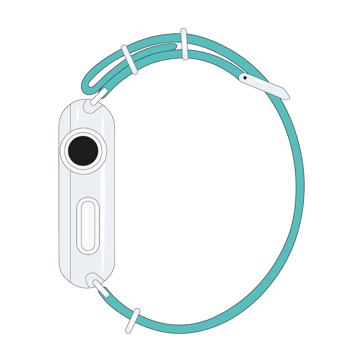 Cinturino Nato Apple Watch in nylon turchese | Roobaya – Bild 4